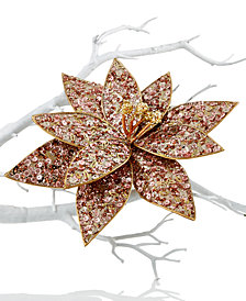 Holiday Lane Gold Sequin Poinsettia Clip On Tree Ornament, Created for Macy's
