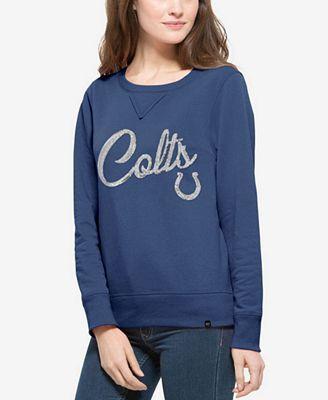 '47 Brand Women's Indianapolis Colts Sparkle Cross Creck Crew Sweatshirt