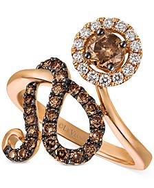 Chocolatier Diamond Floral Statement Ring (1 ct. tw.) in 14k Rose Gold
