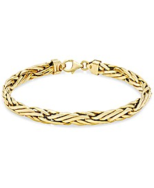 Woven Link Chain Bracelet in 14k Gold