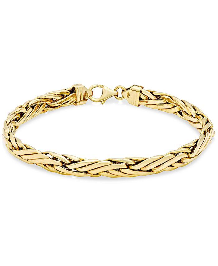 Italian Gold - Woven Link Chain Bracelet in 14k Gold