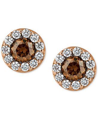le vian chocolatier diamond stud earrings 3 4 ct t w in 14k