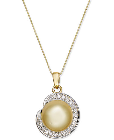 Cultured Golden South Sea Pearl (11mm) and Diamond (1/4 ct. t.w.) Pendant Necklace in 14k Gold