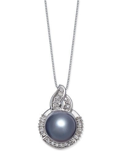 Cultured Tahitian Black Pearl (11mm) and Diamond (1/3 ct. t.w.) Pendant Necklace in 14k White Gold