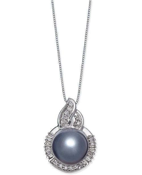 Macy's Cultured Tahitian Black Pearl (11mm) and Diamond (1/3 ct. t.w.) Pendant Necklace in 14k White Gold