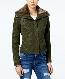 Jou Jou Juniors' Faux-Fur Collar Faux-Leather Jacket