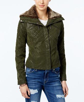 Jou Jou Juniors' Faux-Fur Collar Faux-Leather Jacket - Coats ...