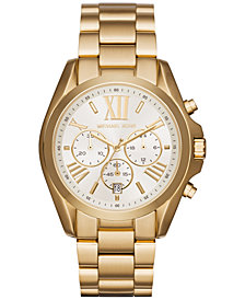Michael Kors Women's Chronograph Bradshaw Gold-Tone Stainless Steel Bracelet Watch 43mm MK6266