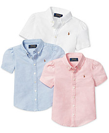 Ralph Lauren Girls Solid Oxford Tops