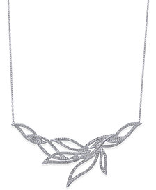 Danori Silver-Tone Pavé Leaf Necklace, Created for Macy's