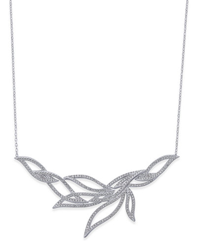 Danori Silver-Tone Pavé Leaf Necklace, Created for Macy's