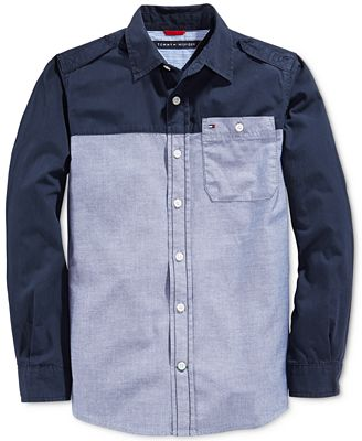 Tommy hilfiger little boys 39 long sleeve poplin chambray for Chambray shirt for kids