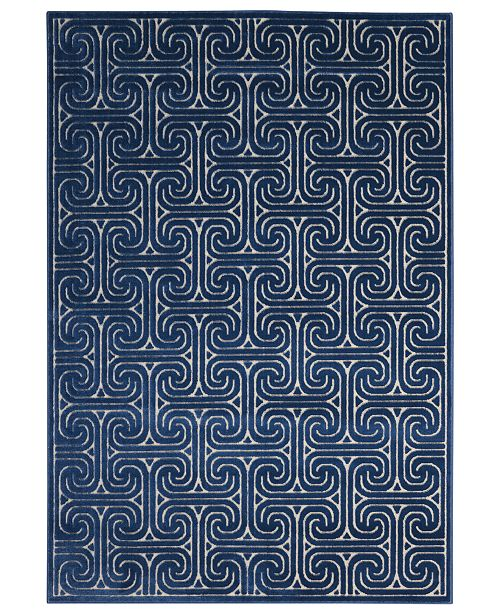 Kelly Ripa Home CLOSEOUT! Interlock KRH20 Ivory/Navy Area Rug, Created for Macy's