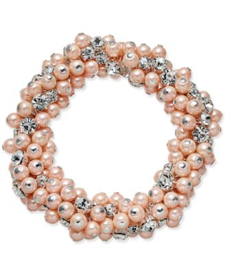 Image of Charter Club Silver-Tone Imitation Pink Pearl and Crystal Cluster Stretch Bracelet, Only at Macy's