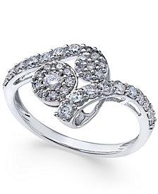 Diamond Swirl Cluster Ring (3/4 ct. t.w.) in 14k White Gold