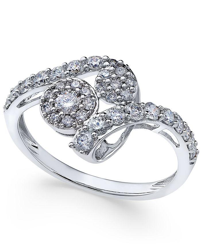Macy's - Diamond Swirl Cluster Ring (3/4 ct. t.w.) in 14k White Gold