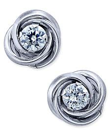 Cubic Zirconia Love Knot Stud Earrings in 10k White Gold