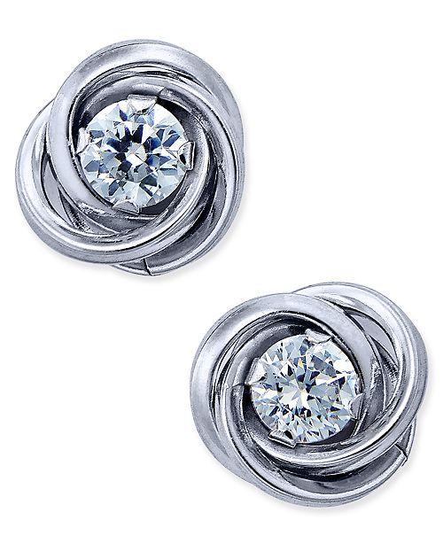 Macy's Cubic Zirconia Love Knot Stud Earrings in 10k White Gold