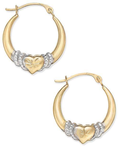 Macy's Two-Tone Heart Hoop Earrings in 10k Gold and Rhodium Plate