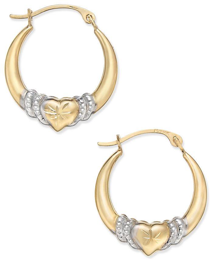 Macy's - Two-Tone Heart Hoop Earrings in 10k Gold and Rhodium Plate