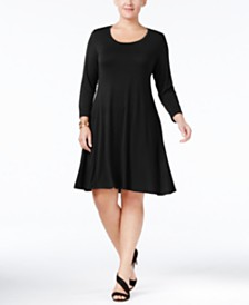 Style & Co Plus Size Scoop Neck Swing Dress, Created for Macy's
