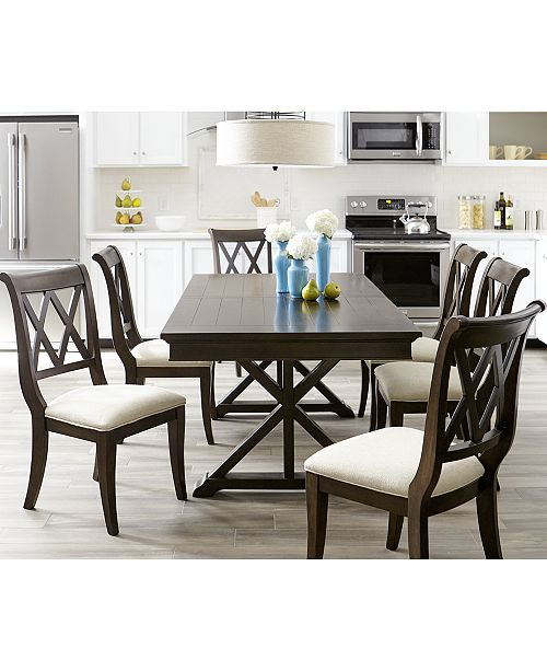 Furniture Baker Street Dining 7 Pc Set Trestle Table 6 Side Chairs Macy S