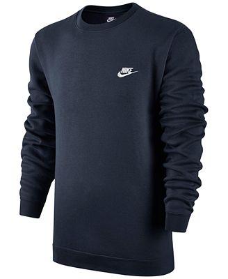 Nike Men's Crewneck Fleece Sweatshirt - Hoodies & Sweatshirts ...