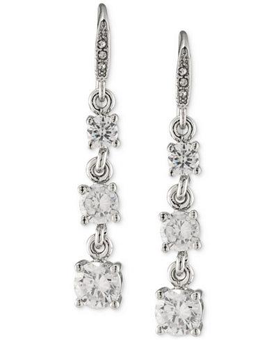 Carolee Silver-Tone Graduated Crystal Linear Drop Earrings