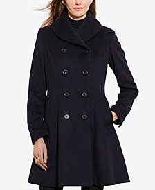 Lauren Ralph Lauren Double-Breasted Fit & Flare Walker Coat