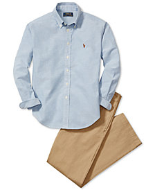 Ralph Lauren Blake Oxford Shirt & Suffield Flat-Front Pants, Big Boys