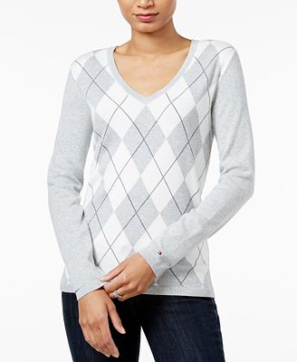 Tommy Hilfiger Ivy V-Neck Argyle Sweater, Created for Macy's ...