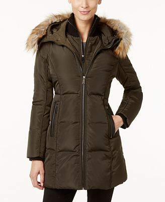 MICHAEL Michael Kors Faux-Fur-Trim Layered Puffer Coat - Coats
