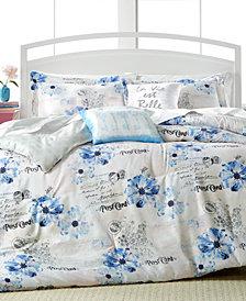 CLOSEOUT! Floral Postcard 5-Pc. Reversible Comforter Sets