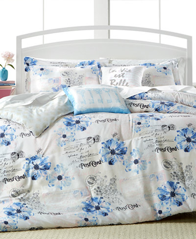 CLOSEOUT! Floral Postcard 4-Pc. Twin Reversible Comforter Set