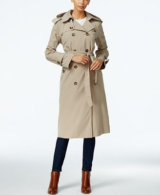 London Fog Petite Hooded Double-Breasted Long Trench Coat - Coats ...