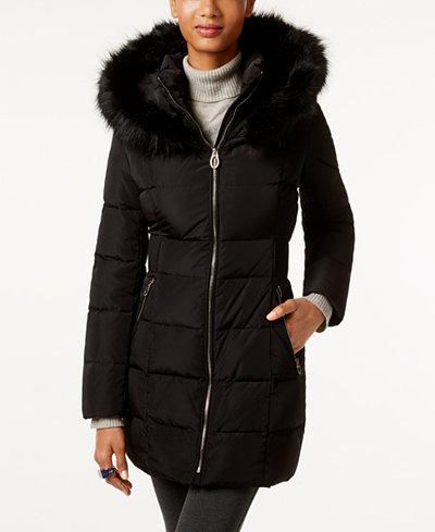 Ivanka Trump Faux-Fur-Trim Hooded Down Puffer Coat - Puffer Womens Coats - Macy's