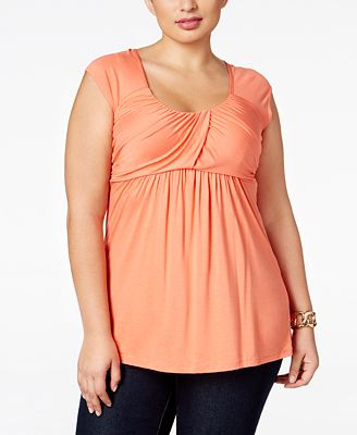 Soprano Trendy Plus Size Ruched Empire Top