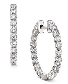 Diamond In-and-Out Hoop Earrings (1/2 ct. t.w.) in 14k White Gold