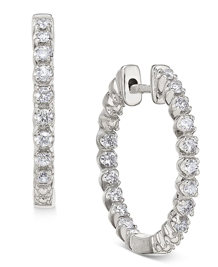 Macy's - Diamond In-and-Out Hoop Earrings (1/2 ct. t.w.) in 14k White Gold