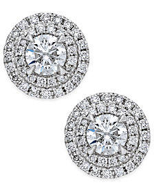 Diamond Double Halo Stud Earrings (1 ct. t.w.) in 14k White Gold