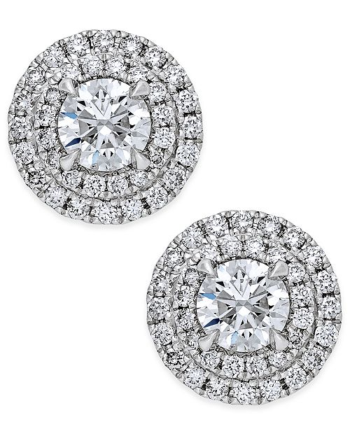 01aed3eb7 Macy's Diamond Double Halo Stud Earrings (1 ct. t.w.) in 14k White Gold