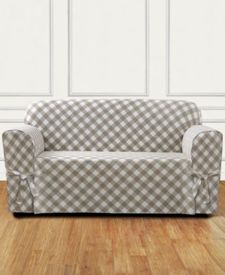 Buffalo Check One-Piece Straight Skirt with Cord Loveseat Slipcover