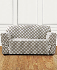Sure Fit Buffalo Check One-Piece Straight Skirt with Cord Loveseat Slipcover