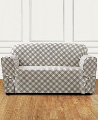 Sure Fit Buffalo Check One Piece Straight Skirt With Cord Loveseat