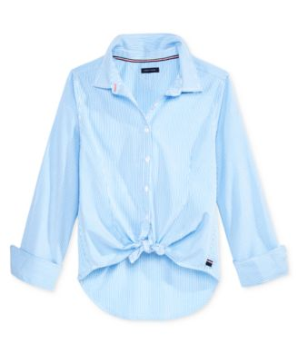 Striped Button-Front Shirt, Big Girls