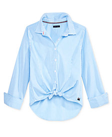 Tommy Hilfiger Striped Button-Front Shirt, Big Girls