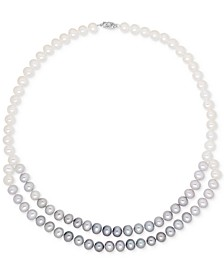 Cultured Freshwater Pearl (7mm) Gray Ombré Double Strand Necklace in 14k White Gold