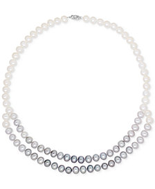 Cultured Freshwater Pearl (8mm) Gray Ombré Double Strand Necklace in 14k White Gold