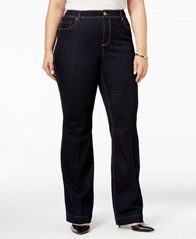 INC International Concepts Plus Size High-Waist Flare-Leg Jeans ...