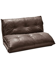 Molly Tufted Faux Leather Flip Sofa, Quick Ship